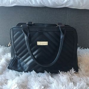 BCBG Leather Handbag with gold accents
